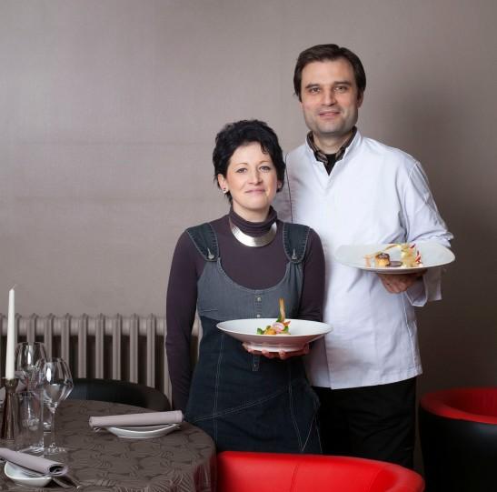 Charles Gombert et sa femme/Restaurant Le Vent d'Ange
